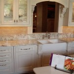 White Spring Granite  Countertops With White Cabinets