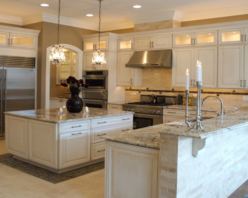 Bianco antico granite countertops white cabinets for White cabinets granite countertops
