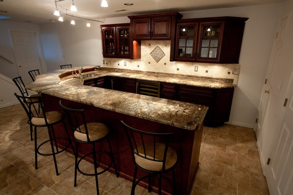 Fire Bordeaux Granite  Countertops Kitchen Design Ideas
