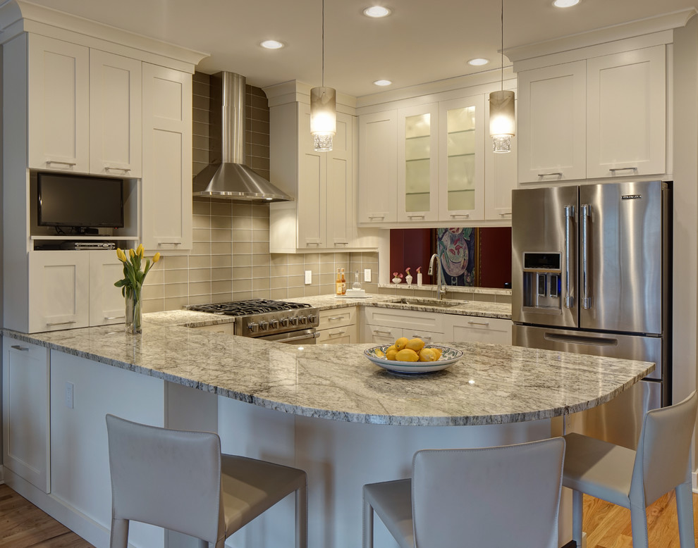 White Kitchen Design Ideas Pictures ~ White galaxy granite countertop kitchen design ideas