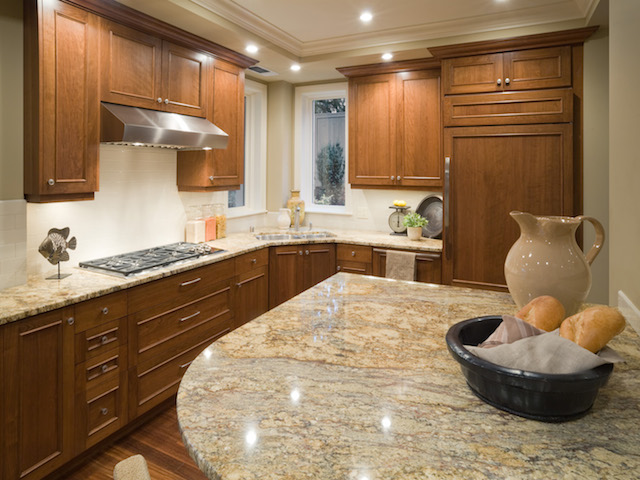 River Gold Granite Countertop Kitchen Design Ideas