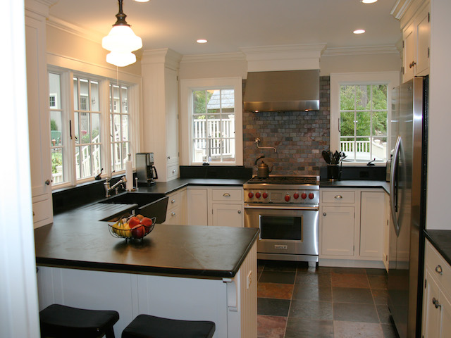 White Kitchen Soapstone Countertops