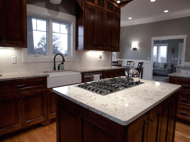 Cambria bellingham quartz dark cabinets backsplash ideas for Backsplash ideas with black cabinets