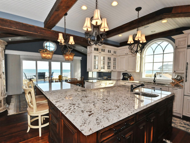 White Diamond Granite Kitchen Countertop Design Ideas