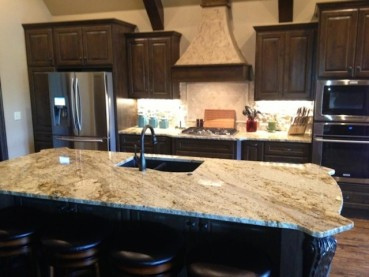 Sienna Beige Granite Dark Cabinets – Backsplash Ideas