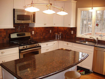 Tan Brown Granite White Cabinets -Backsplash Ideas