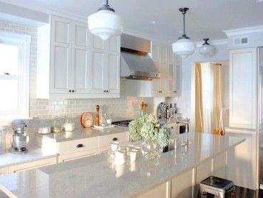 Colonial White Granite With White Cabinets Backsplash Ideas