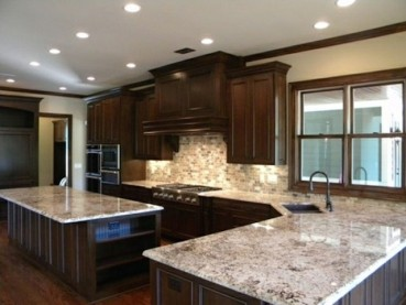 White Ice Granite Dark Cabinets Backsplash Ideas