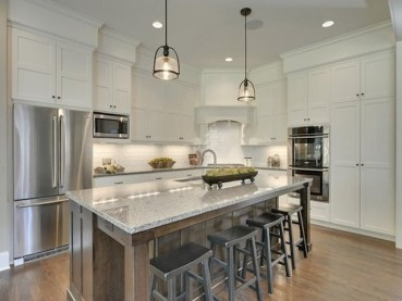 New Caledonia Granite White Cabinets Backsplash Ideas