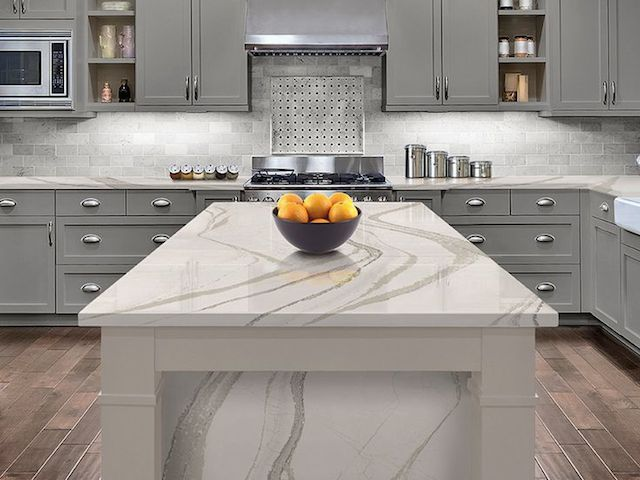 Marble Look Quartz Countertops : Quartz kitchen countertop looks like white marble