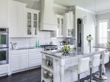 26 Gray Kitchen Countertops Striking White Cabinets