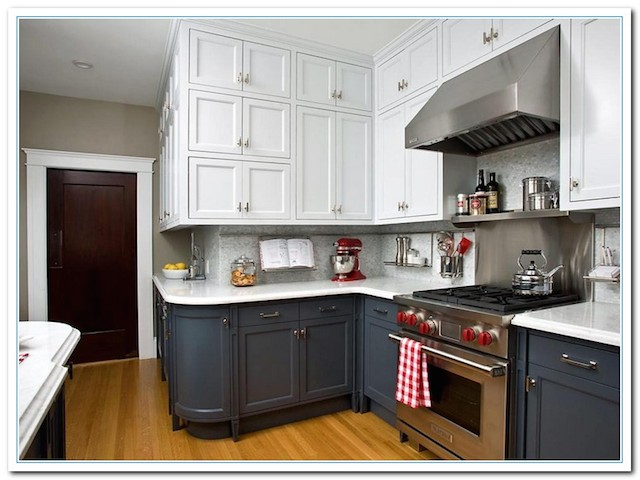Dark White Two Tone Kitchen Cabinets Combinations