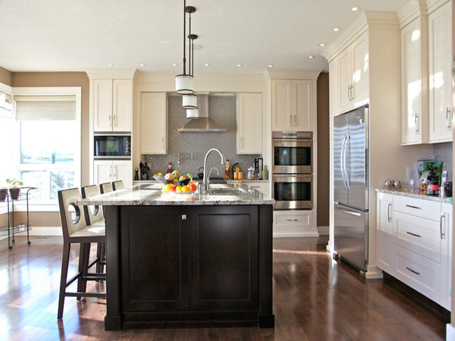 White kitchen cabinets with dark island crowdbuild for - White kitchen with dark island ...