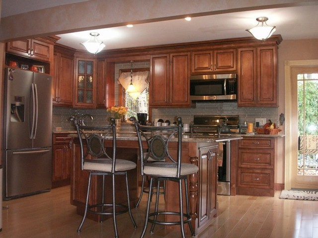 Kitchens traditional dark wood cherry color kitchen for Kitchen ideas brown cabinets