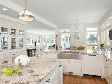 White Kitchen Cabinets White Granite Countertops
