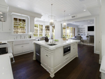White Kitchen Countertops Dark Hardwood Floors