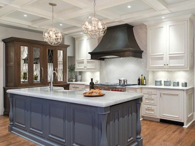 Kitchen With White Cabinets And Gray Countertops